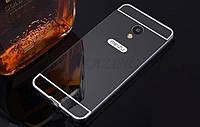 Чехол зеркальный, рамка алюминий, зеркало акрил   для  Meizu M3 Note (черный)