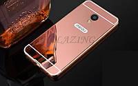 Чехол зеркальный, рамка алюминий, зеркало акрил   для  Meizu M3 Note (розовый)
