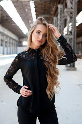 Блуза черная с кружевом Размеры 42,44,46,48, фото 2