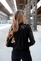 Блуза черная с кружевом Размеры 42,44,46,48, фото 3