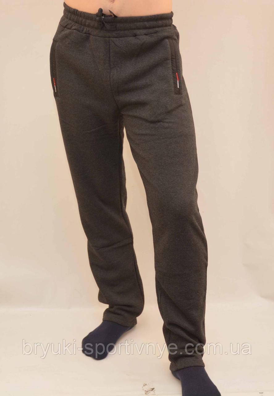 Брюки спортивные мужские зимние - 3 кармана в сером цвете