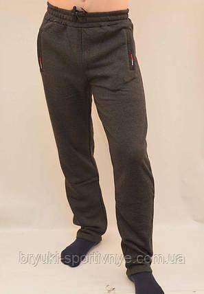 Брюки спортивные мужские зимние - 3 кармана в сером цвете, фото 2
