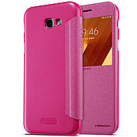 Кожаный чехол (книжка) Nillkin Sparkle Series для Samsung A520 Galaxy A5 (2017) Розовый