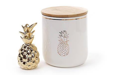Банка фарфоровая Ананас с бамбуковой крышкой 950мл цвет - белый с золотом (945-103), фото 2