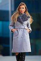 Шерстяное Теплое Зимнее Пальто с Отложным Меховым Воротником Серый р. 42