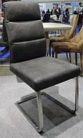 Стул Tarrasa HDF-6306F экокожа темно-серый, каркас полированная нержавеющая сталь, стиль модерн