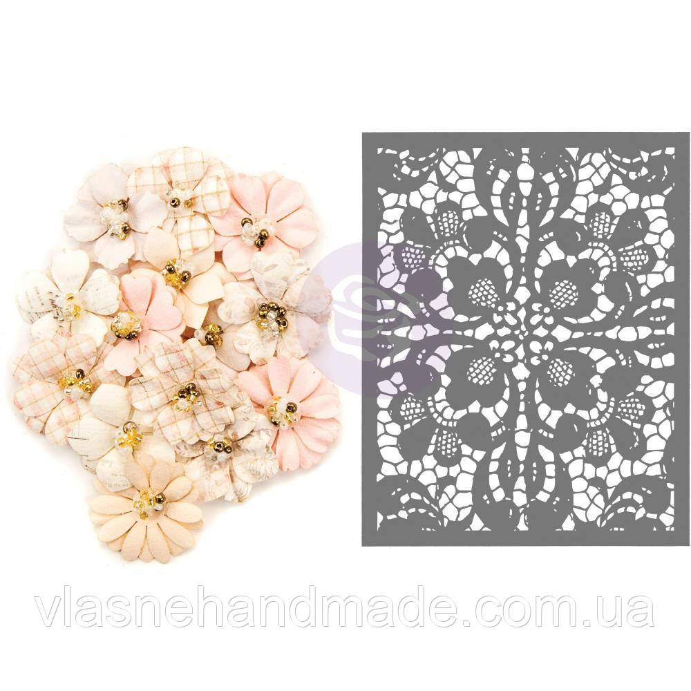 Квіти - Garden Petals WStencil - Lavender Frost - Prima Marketing