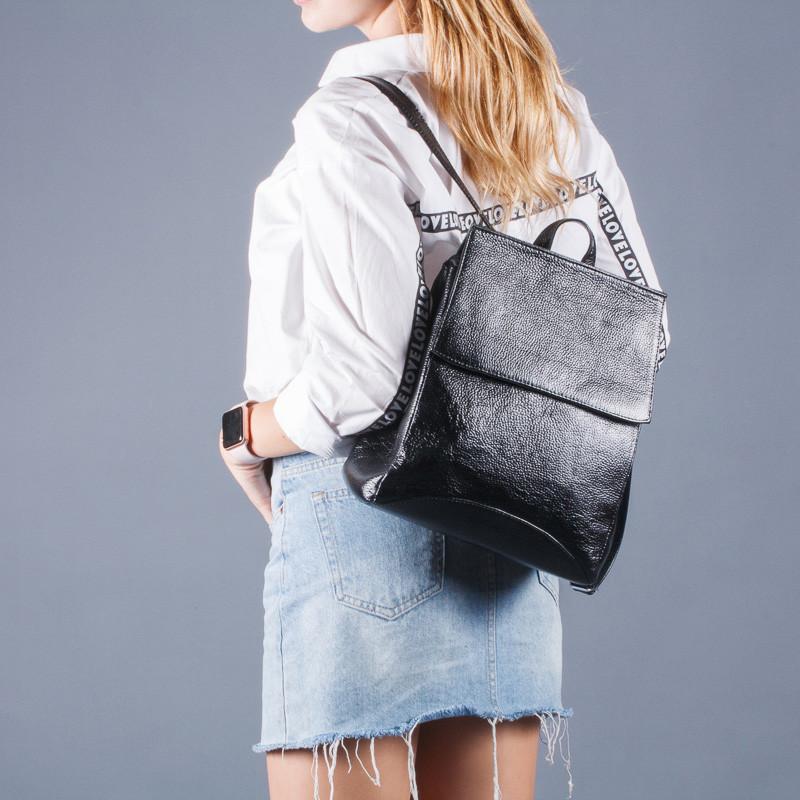Рюкзак кожаный черный небольшой под заказ в любом цвете.