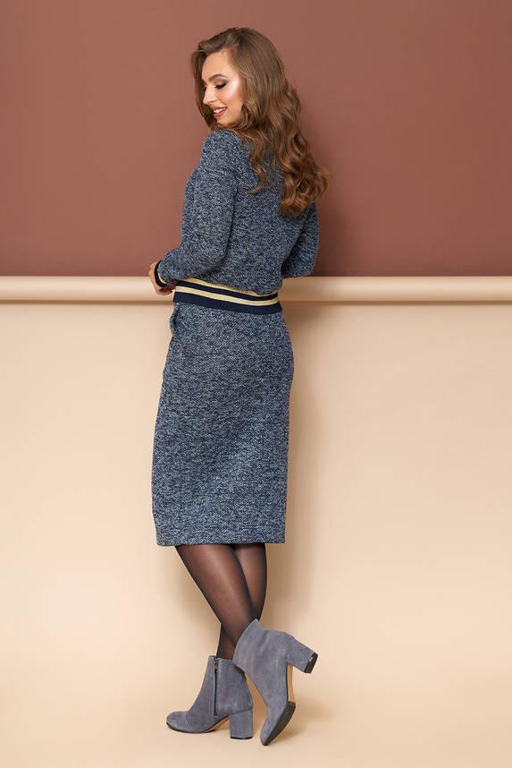 Женский трикотажный костюм с юбкой серо-синий, фото 2