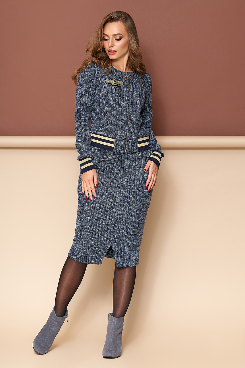 Женский трикотажный костюм с юбкой серо-синий