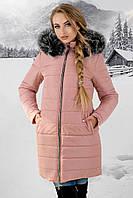 Женская зимняя молодежная куртка Флорида с капюшоном / размер 52 / цвет меха серый
