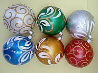 Украшение на елку шары  Роспись 8 см 6 штук