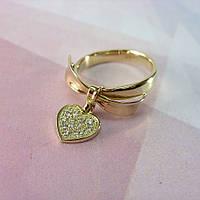 Золотое кольцо Бантик с бриллиантовой подвеской