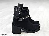 Женские ботинки демисезонные Valentino натуральная кожа и замш, фото 4