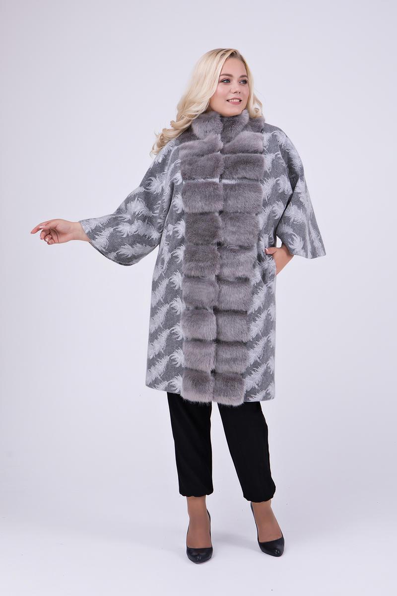 4e1d77e204fa Женское эксклюзивное пальто больших размеров / принт перо 688 / размер 48 /  цвет серый -