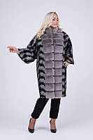 Женское эксклюзивное пальто больших размеров / принт перо 688 / размер 46 / цвет черный