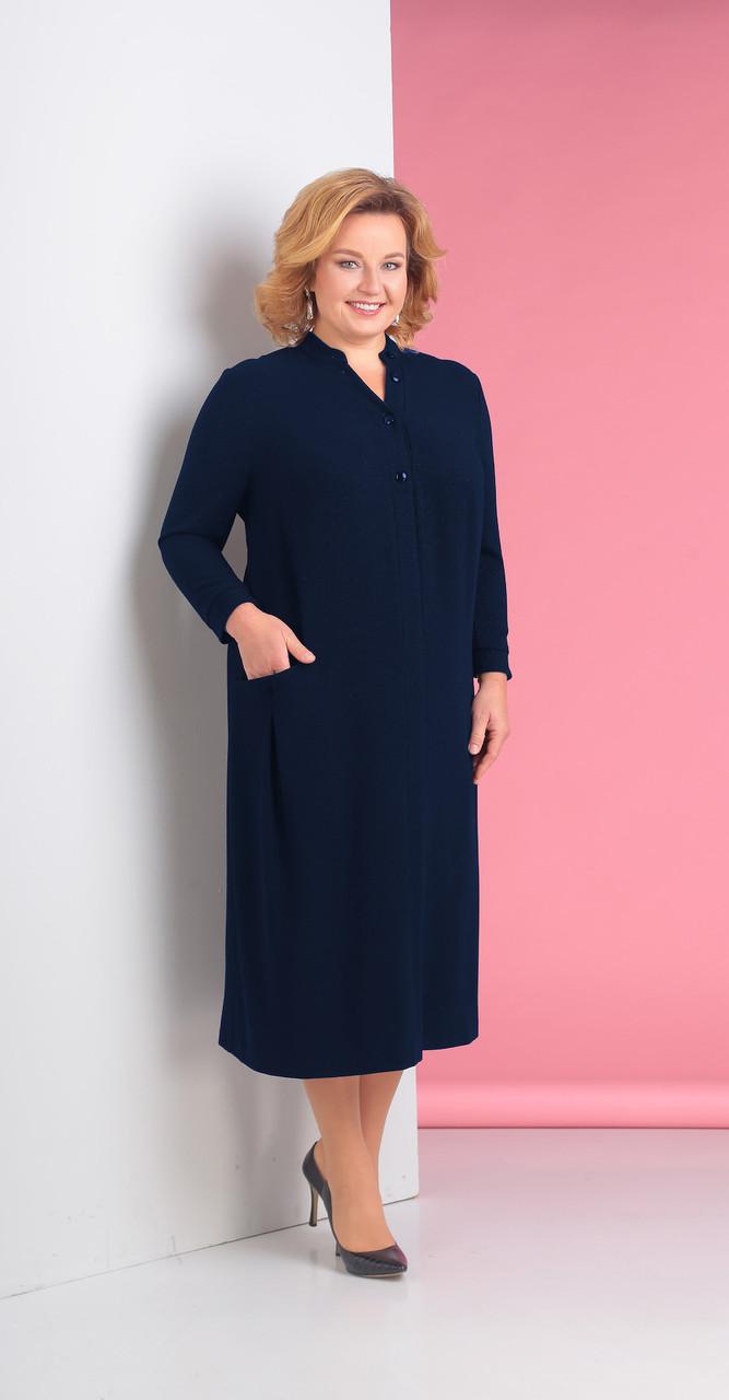 Платье Novella Sharm-3115-c белорусский трикотаж, темно-синий, 60