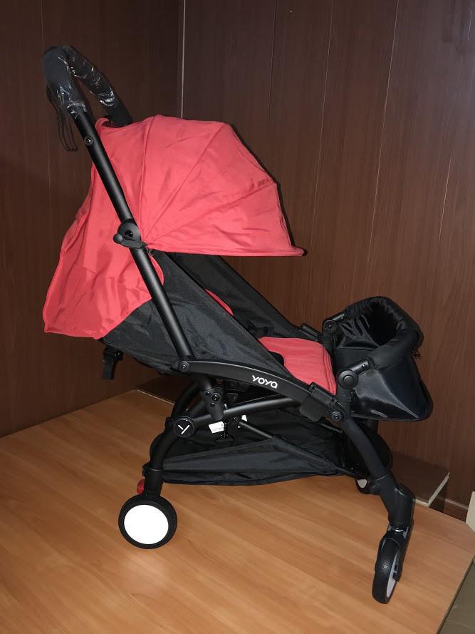Детская коляска Yoya 175 A+ красный цвет, рама белая или черная. Четырехярусный удлиненный  капор.