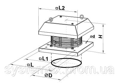 Габаритные размеры Вентс ВКГ (центробежный крышный вентилятор)