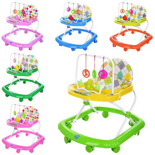 Детские ходунки музыкальная панель тормоз салатовые Bamby 12 мелодий