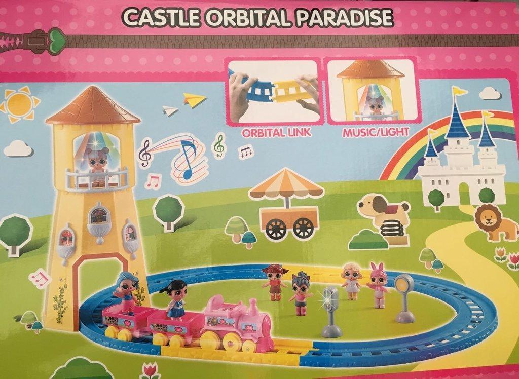 Игровой набор Лол замок и поезд Lol castle orbital paradise свет, звук  (копия LOL хорошего качества)