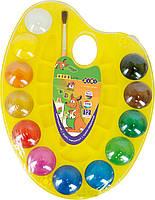 Краски акварельные на палитре 12 цветов палитра акварельні фарби Zibi, 009149