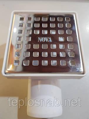 Трап сливной нержавеющая сталь 10см x 10см выход боковой Ø50, фото 2