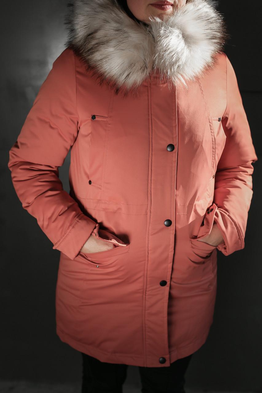 Женская зимняя куртка,парка MUMU с пышным мехом,терракот