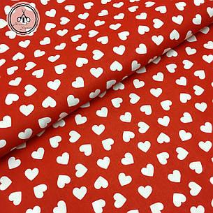 """Польская хлопковая ткань """"сердца белые на красном"""", фото 2"""