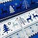 Ткань новогодняя хлопковая, олени и елки на темно-сине-серых и белых широких полосках, фото 2