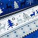 Ткань новогодняя хлопковая, олени и елки на темно-сине-серых и белых широких полосках, фото 3