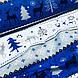 Ткань новогодняя хлопковая, олени и елки на темно-сине-серых и белых широких полосках, фото 4