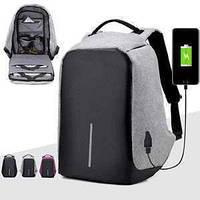 Городской рюкзак для ноутбука Bobby антивор c USB зарядным устройством Черный, Black  в стиле