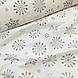 Ткань новогодняя хлопковая, крупные серые снежинки на белом, фото 4