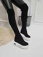 Женские зимние  ботфорты черные