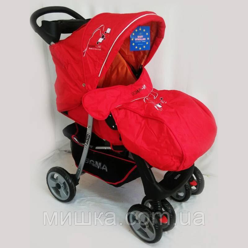 Детская коляска Sigma K-038F прогулочная красная с москитной сеткой