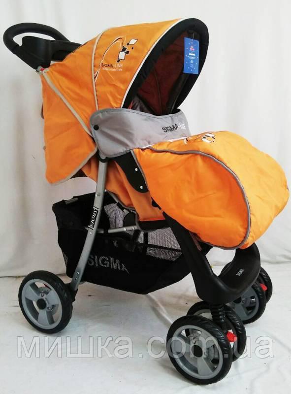 Детская прогулочная коляска с москитной сеткой Sigma K-038F оранжевая