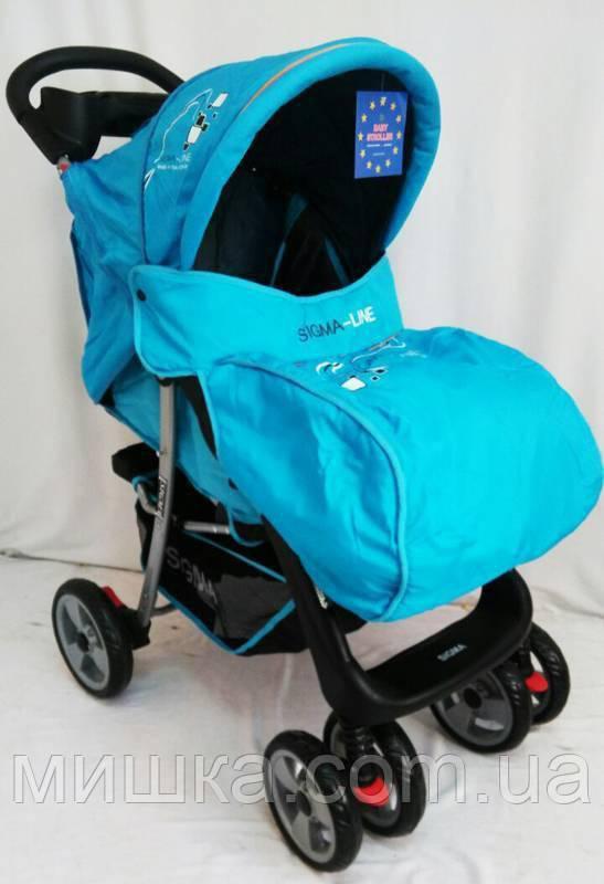 Детская прогулочная коляска с москитной сеткой Sigma K-038F голубая