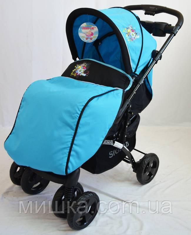Детская прогулочная коляска Sigma K-719F голубая с москитной сеткой