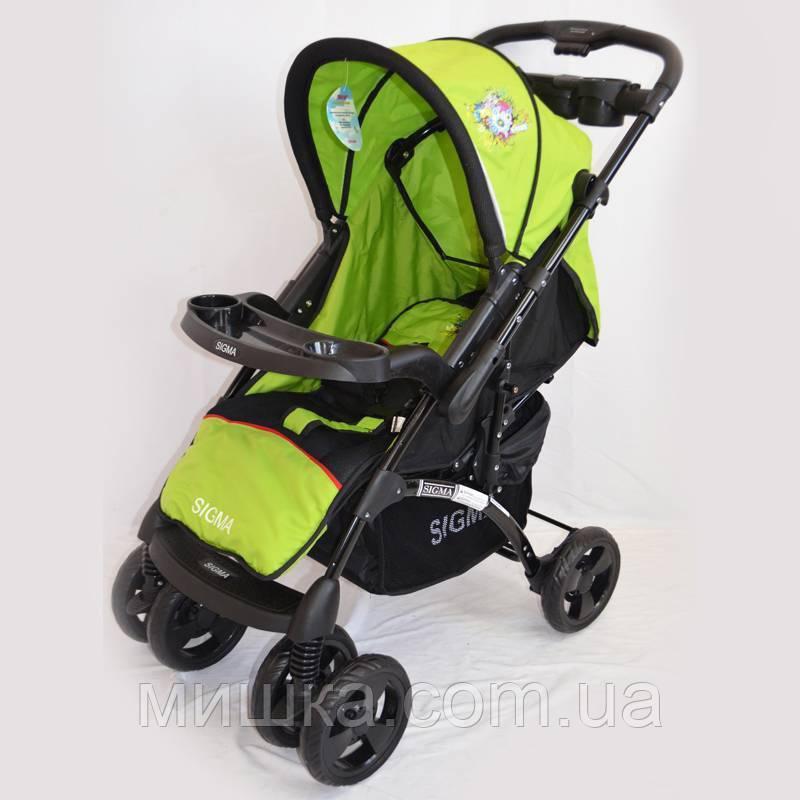 Детская прогулочная коляска Sigma K-719F с москитной сеткой  салатного цвета