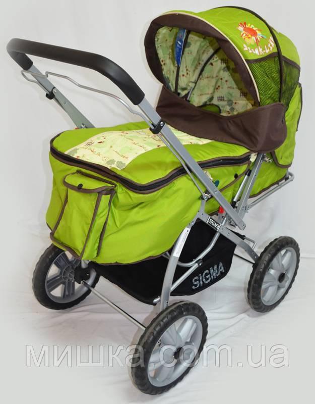 Прогулочная детская зеленая коляска Sigma H-225F