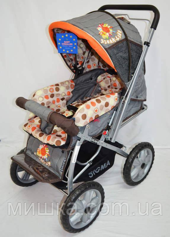 Прогулочная детская коляска Sigma H-225F серая