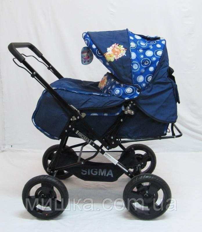 Детская синяя прогулочная коляска Sigma H-T(WFS)-D
