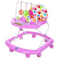 Детские ходунки музыкальная панель тормоз розовые Bamby музыка