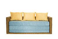 Диван-кровать Уго из натурального ротанга с голубым матрасом CRUZO™