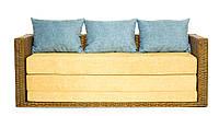 Диван-кровать Уго натуральный ротанг с желтым матрасом CRUZO™