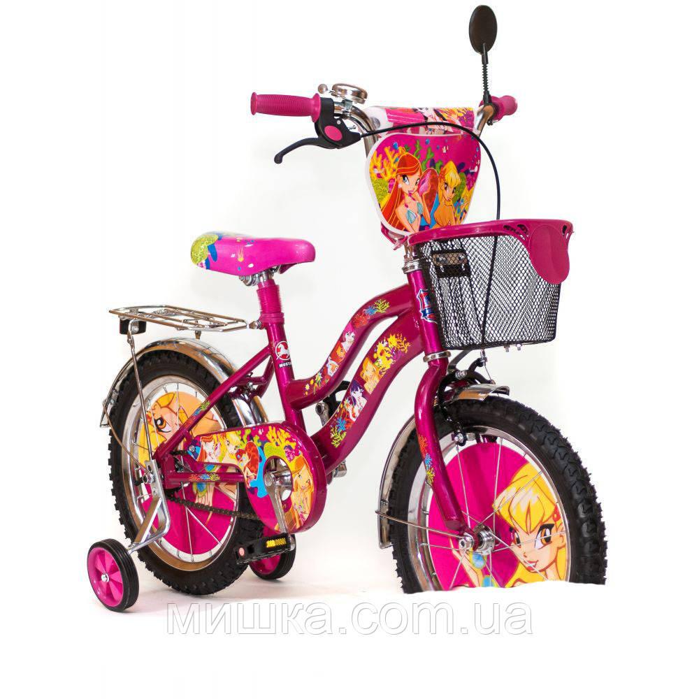 "Детский велосипед WINX с корзинкой 16"" мустанг"