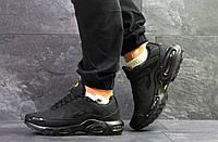 Кроссовки мужские Nike Air Max Tn на зиму теплые спортивные удобные на каждый день (черные), ТОП-реплика, фото 1