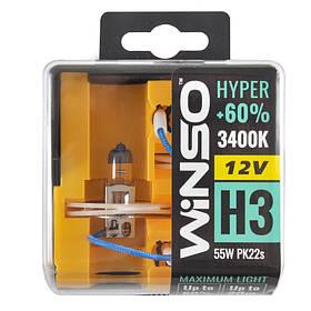 Галогенная лампа WINSO 12V H3 HYPER +60% 55W PK22s SET 712330