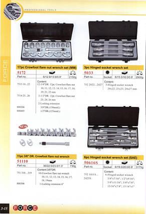 Набор разрезных ключей односторонних 17 пр. (10-26 мм., Кроуфут) FORCE 5172, фото 2
